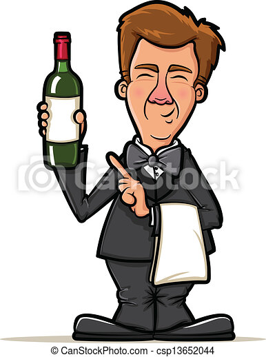 Vector of Wine Waiter Cartoon - Sommelier Presenting a Bottle of Wine ...