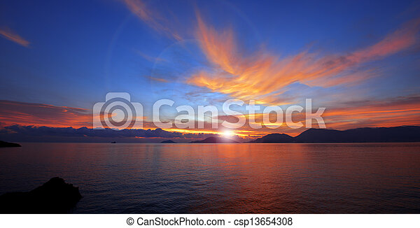 Sunset in Lerici - Liguria Italy - csp13654308