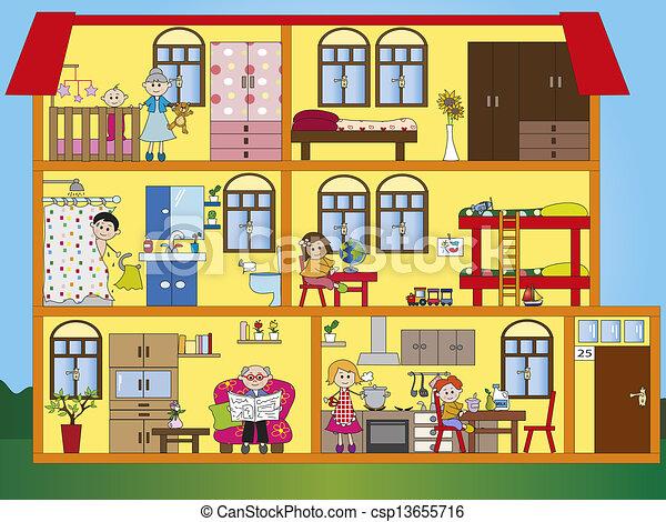 Clipart de int rieur maison illustration de int rieur - Dessin d interieur de maison ...