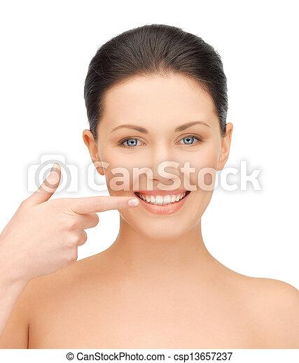 顯示, 婦女, 她, 牙齒 - csp13657237