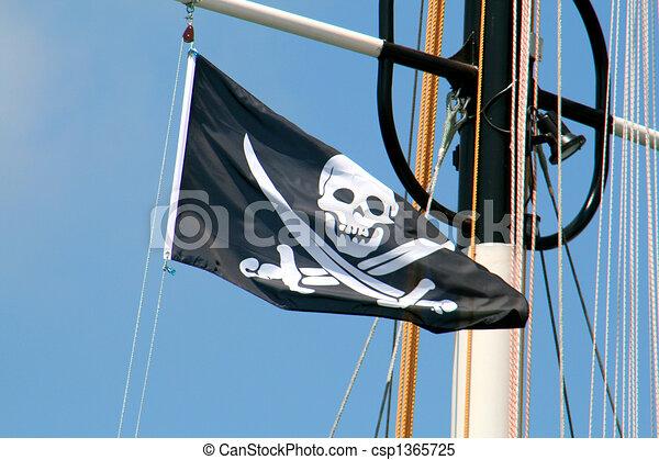 Pirate Flag - pirate skull symbol  - csp1365725