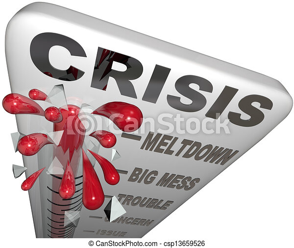 Crisis Thermometer Meltdown Mess Trouble Emergency Words - csp13659526