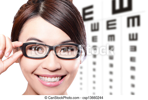 woman with glasses and eye test chart - csp13660244