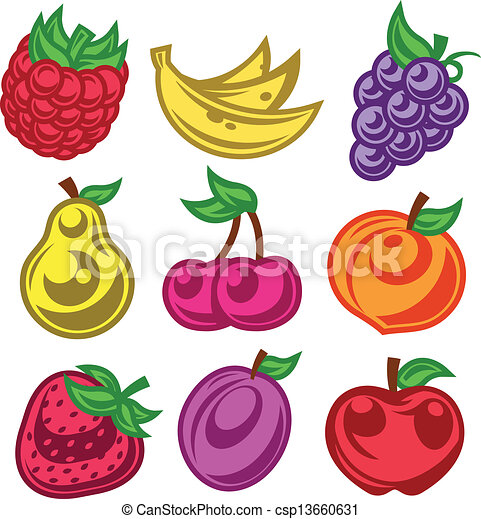 Vettori di stilizzato colorized frutta icone colorito for Clipart frutta