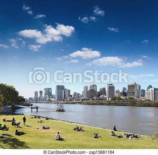 brisbane skyline from the park - csp13661184