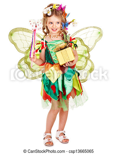 Child with flower and butterfly. - csp13665065
