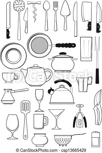 15 Kitchen Utensils Sketch : Vector Illustration of set of kitchen utensils - large set of thirty ...