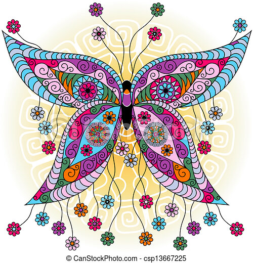 Fantasy spring vintage butterfly - csp13667225