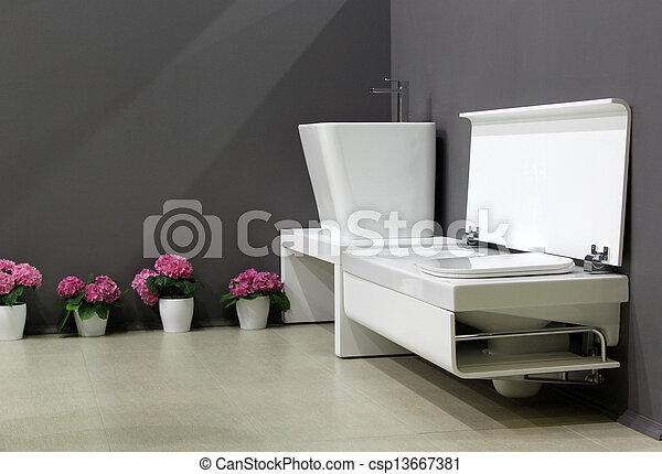 Plaatjes van moderne badkamer donker muren witte uitrusting csp13667381 zoek naar stock - Badkamer donker ...
