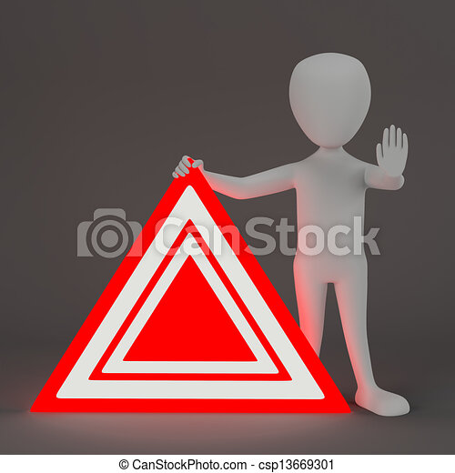 3D small people - Emergency sign. - csp13669301