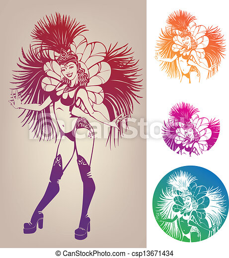 Vectors of ink linework of smiling pretty young woman in ...