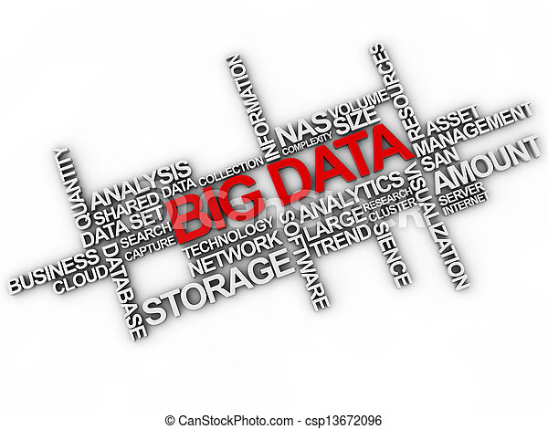 big data word cloud over white background - csp13672096