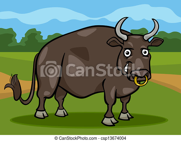 bull farm animal cartoon illustration - csp13674004