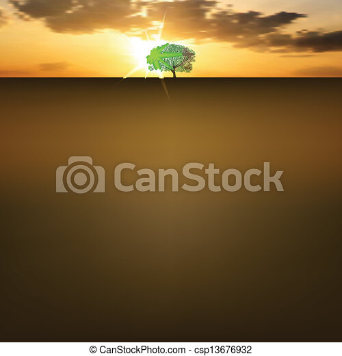Nature background with sunrise and tree - csp13676932