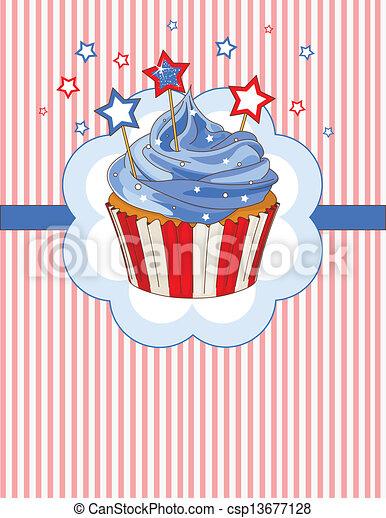 Patriotic cupcake place card - csp13677128