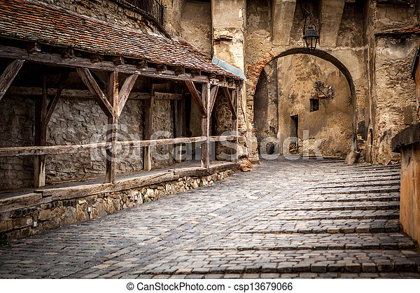 Medieval street view in Sighisoara, Transylvania, founded by saxon colonists in XIII century. Romania landmark - csp13679066