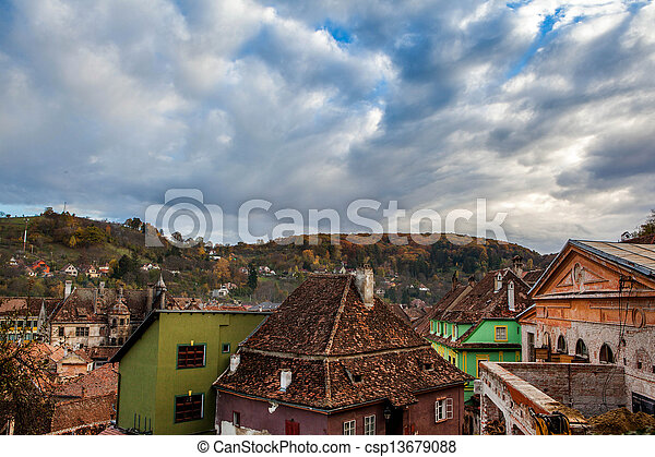 Sighisoara, Clock Tower, saxon landmark of Transylvania in Romania Arial view - csp13679088