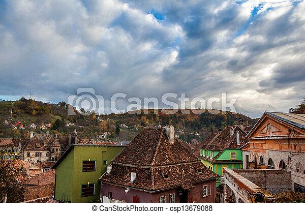 Sighisoara, Clock Tower, saxon landmark of Transylvania in Romania Arial view - csp13679088