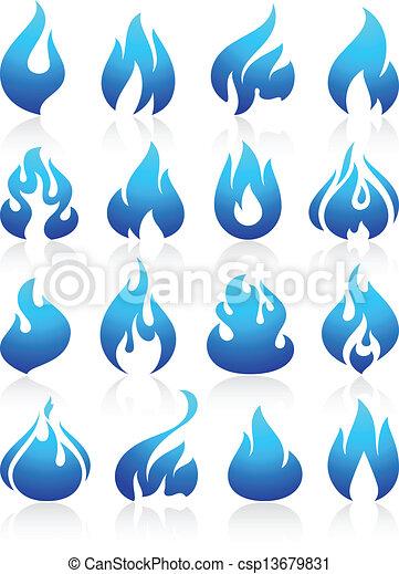 Fire flames blue, set icons - csp13679831