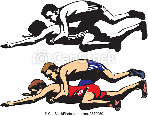 Clipart Vector of fighting wrestlers - freestyle wrestling and ...