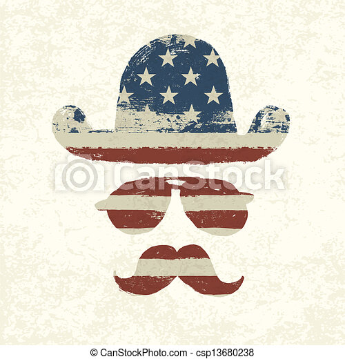 Grunge american flag themed retro fun elements. Vector, EPS10 - csp13680238