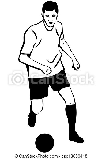 Vector Clip Art Of Sketch Athlete Football Player With The Ball - A Sketch... Csp13680418 ...