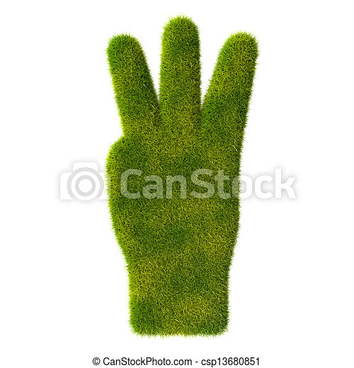 Grass hand icon. Three fingers - csp13680851