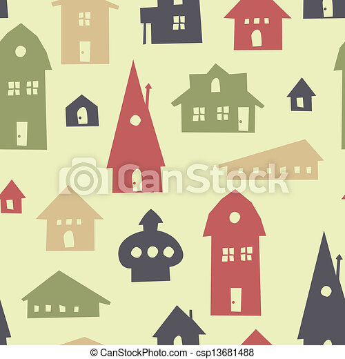 Vector of different shapes houses seamless pattern vector for Different shapes of houses