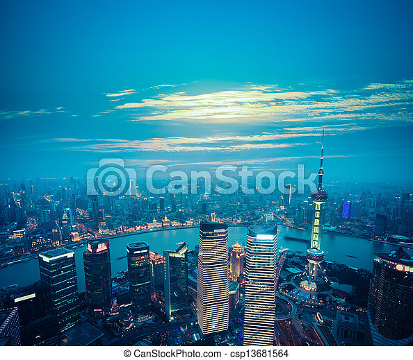 aerial view of shanghai at dusk - csp13681564
