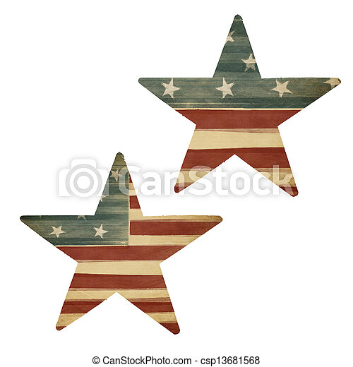 Two stars, American flag themed. Holiday design elements, isolated on white. - csp13681568