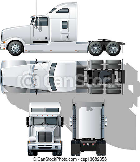 Clipart Vector of hi-detailed semi-truck Available EPS-10 separated by ...