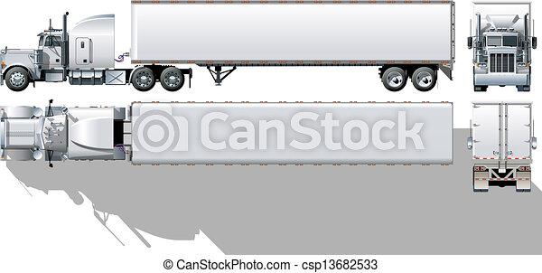 Semi Truck Outline Commercial Semi Truck