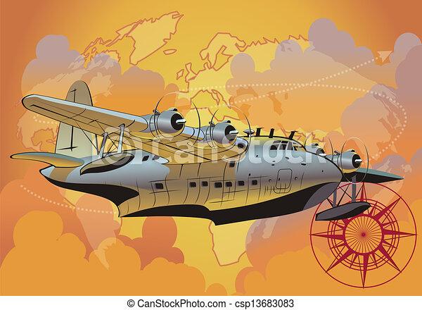 retro seaplane - csp13683083