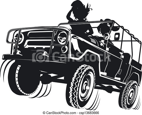 jeep detailed silhouette - csp13683666