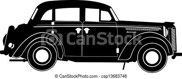 Vintage car silhouette vector free 15