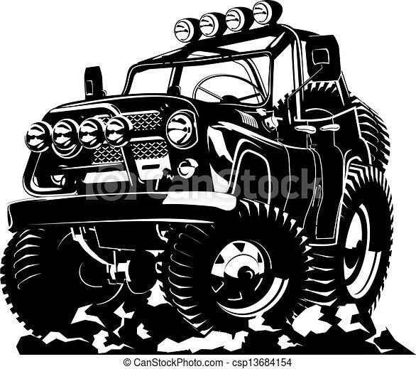 矢量-卡通漫画, 吉普车