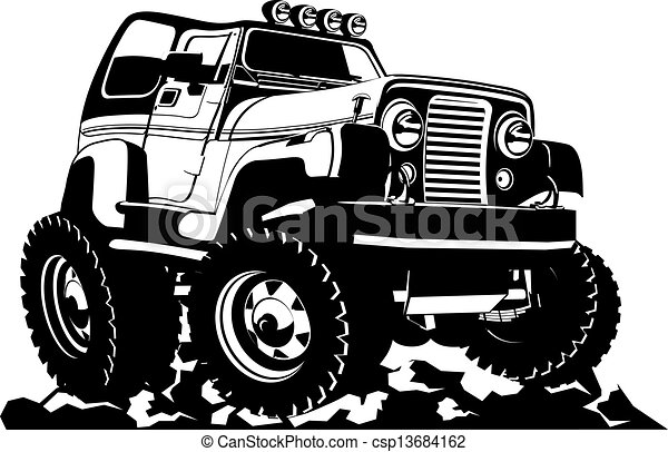 Clip Art Vector Of Cartoon Jeep Isolated On White