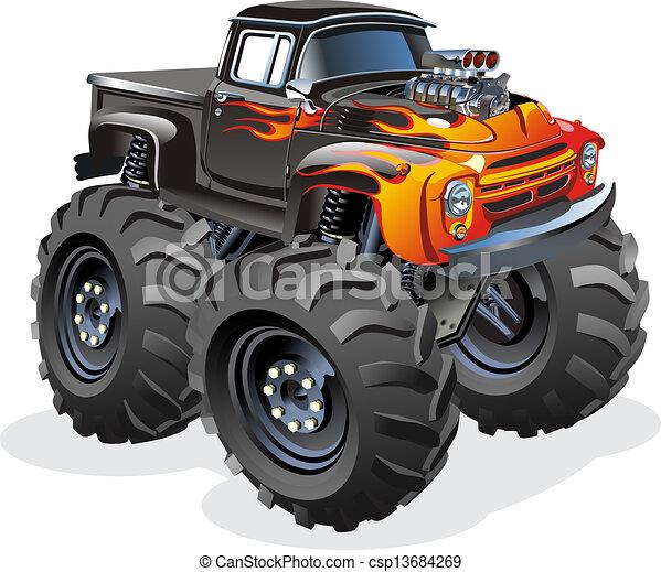 vrachtwagen, spotprent,  monster - csp13684269