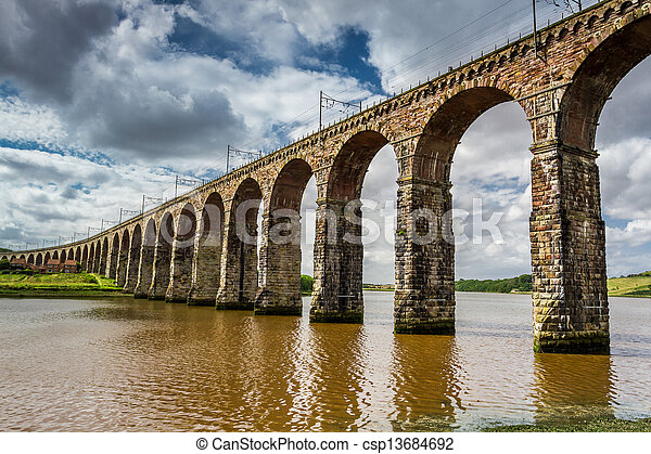 View of the three bridges in Berwick-upon-Tweed - csp13684692