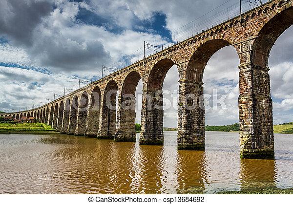View of the three bridges in Berwick-upon-Tweed - csp13684692