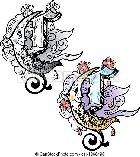 tatuagem, estilo, inteligência,  C, letra - csp1368498