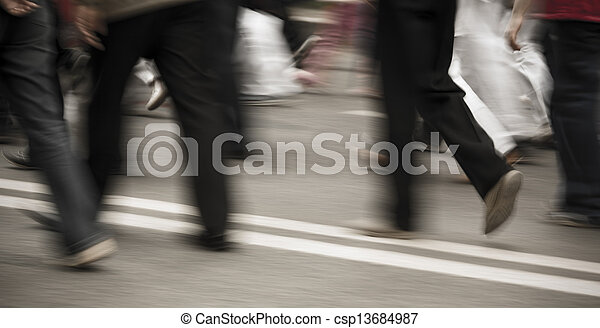 Pedestrians in modern city street  - csp13684987