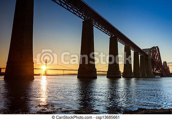 Sunset between the two bridges in summer - csp13685661