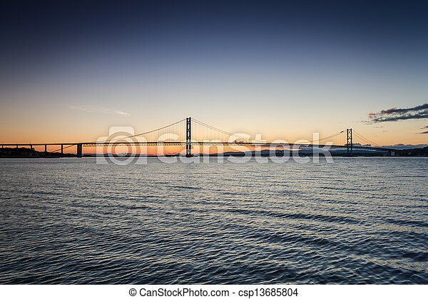 Sunset over river and bridges in Queensferry - csp13685804