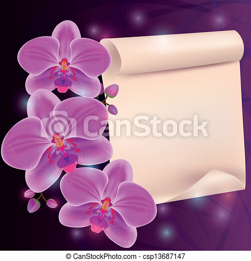 Greeting card with exotic flower orchid and paper - place for text - csp13687147