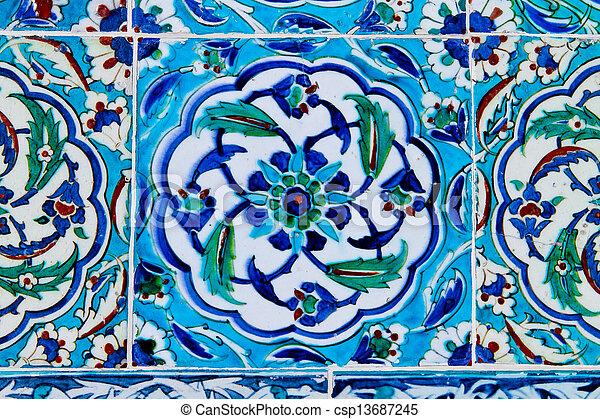 Handmade Traditional Turkish Blue Tile Wall