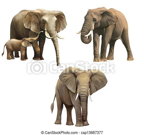 Stock Illustrations of Elephants, Baby elephant, big adult African ...