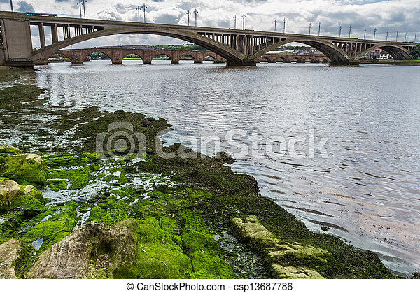 View of the bridges in a small town in Scotland - csp13687786