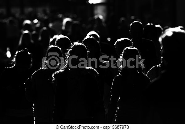 crowd, people are going to work in big city - csp13687973