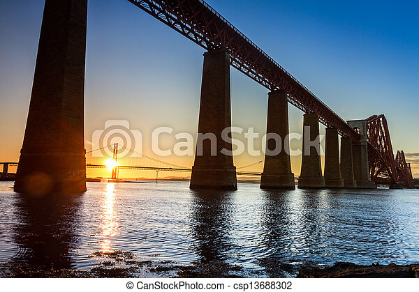 Sunset between the two bridges in Scotland - csp13688302